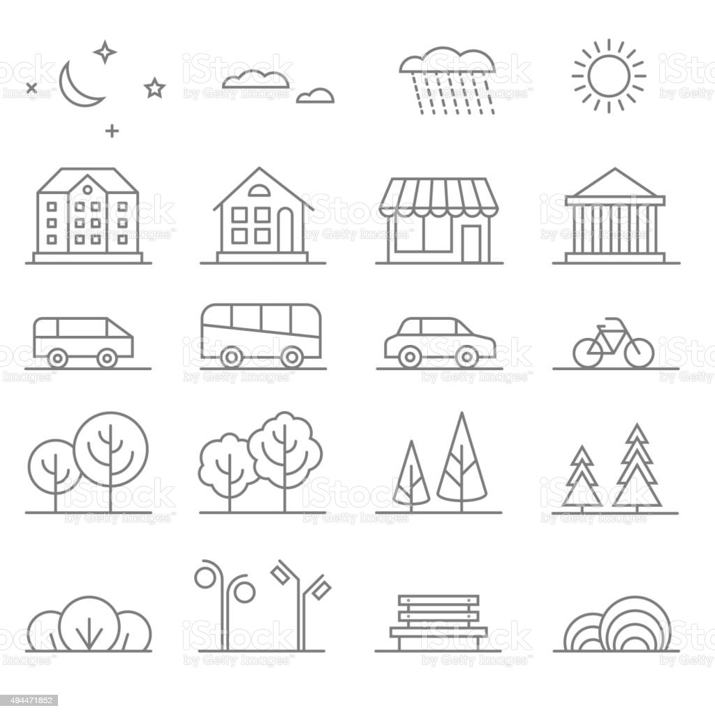 Buildings, transport, car and tree line vector icons set. Elements vector art illustration