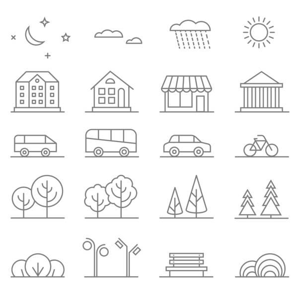 bildbanksillustrationer, clip art samt tecknat material och ikoner med buildings, transport, car and tree line vector icons set. elements - bench