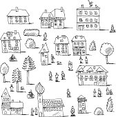 Hand-drawn vector drawing of an Urban Life Set with Buildings, Trees and People. Black-and-White sketch on a transparent background (.eps-file). Included files are EPS (v10) and Hi-Res JPG.