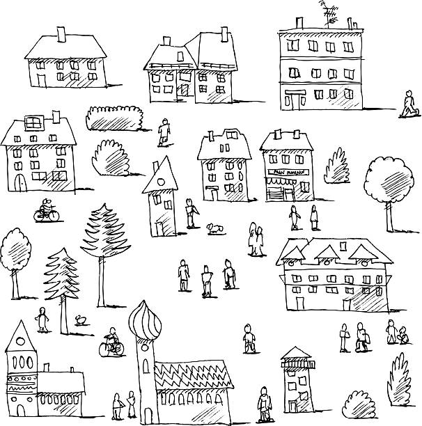 Buildings Trees People Urban Life Set Drawing Hand-drawn vector drawing of an Urban Life Set with Buildings, Trees and People. Black-and-White sketch on a transparent background (.eps-file). Included files are EPS (v10) and Hi-Res JPG. cycling stock illustrations