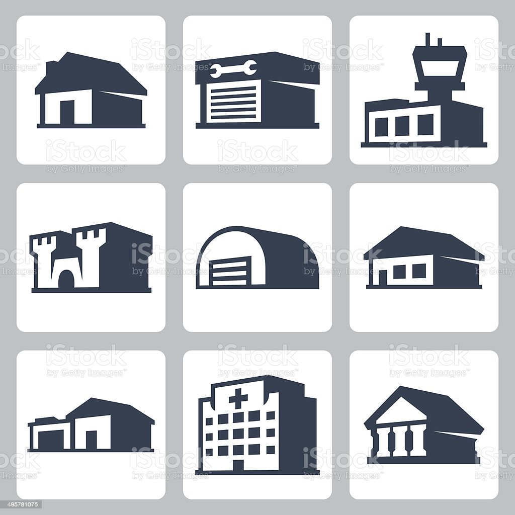 Buildings vector icons set, isometric style #3 vector art illustration