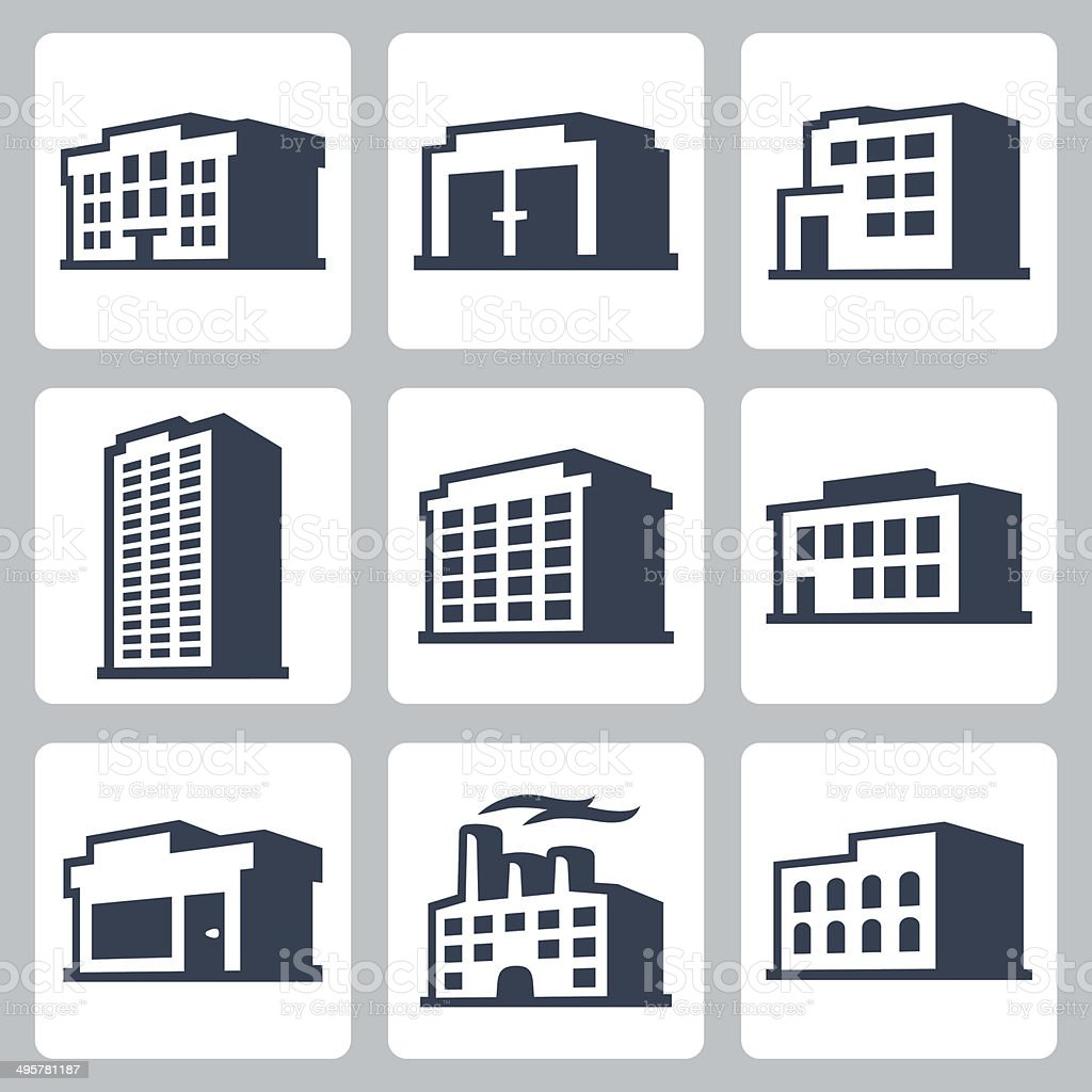 Buildings vector icons set, isometric style #2 vector art illustration