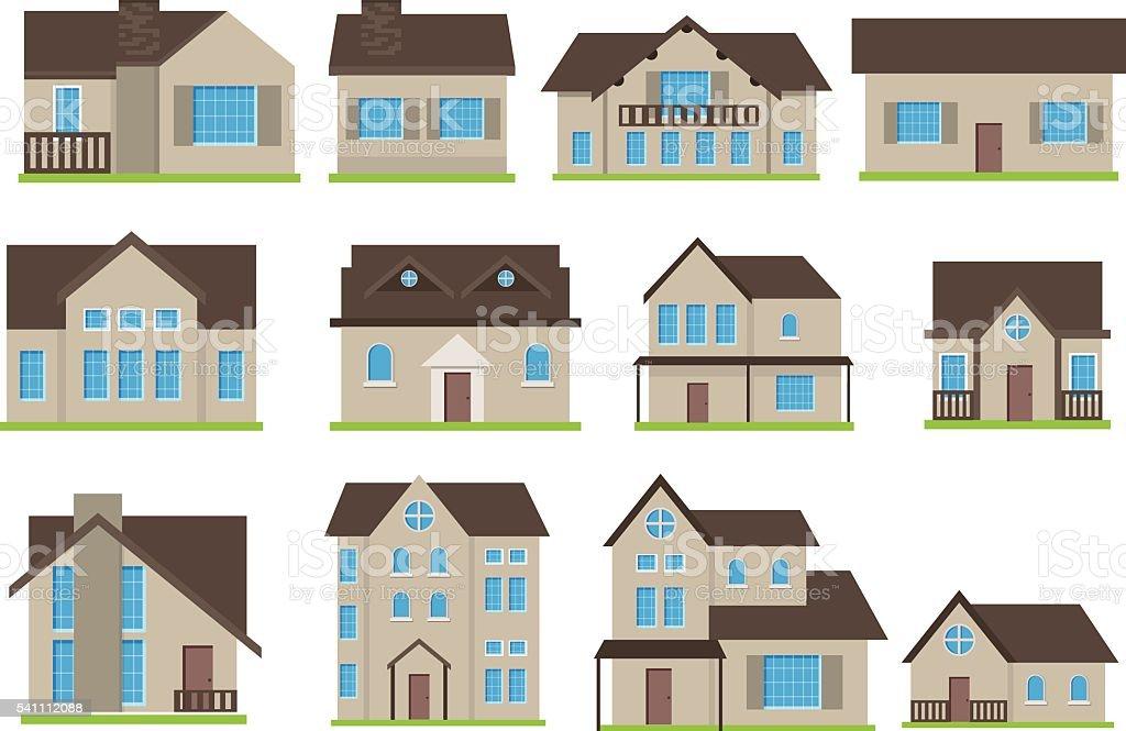 Buildings vector icons set vector art illustration