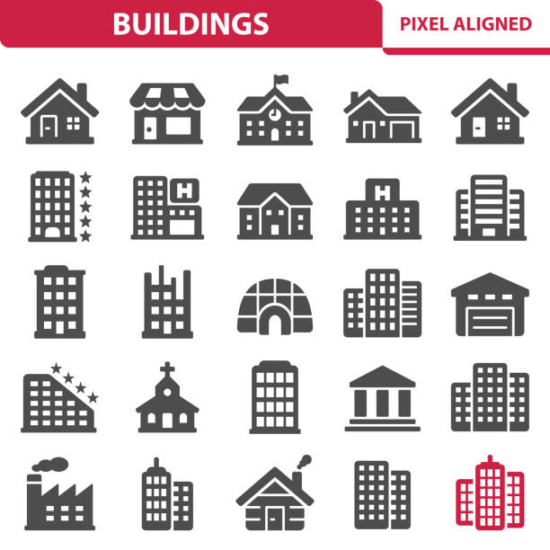 Buildings Professional, pixel perfect icons, EPS 10 format. school building stock illustrations