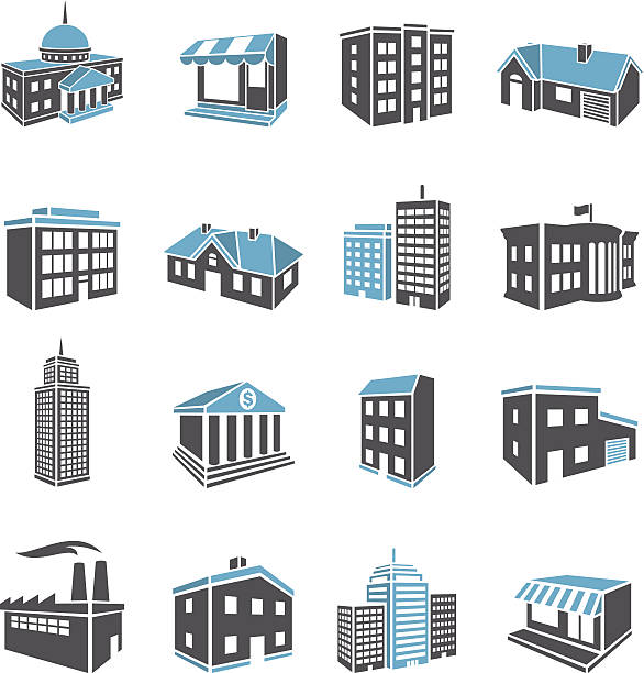 3d buildings - architecture clipart stock illustrations