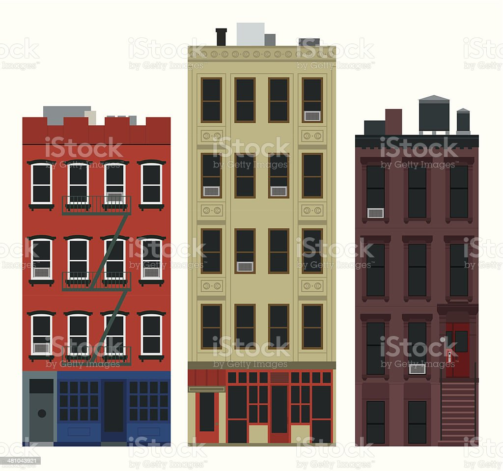 NY buildings vector art illustration