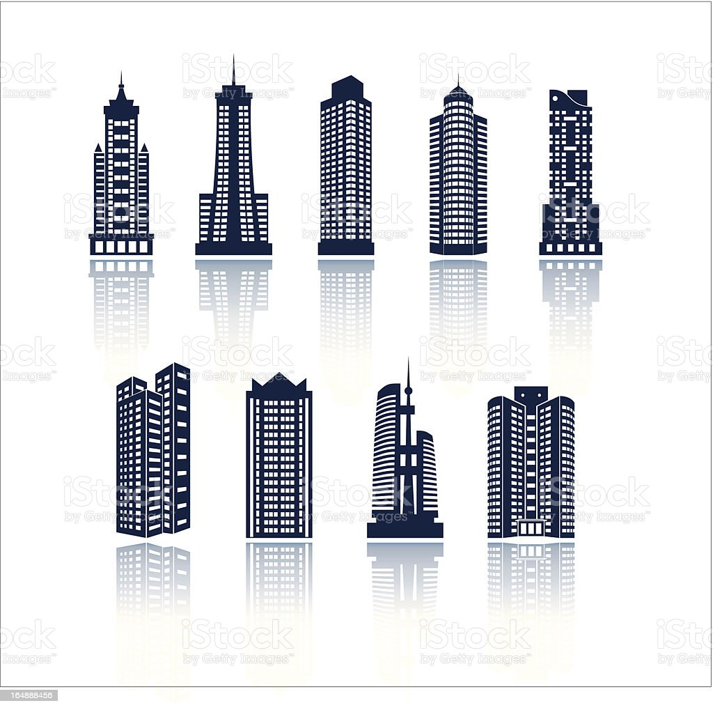 Buildings vector silhouettes vector art illustration