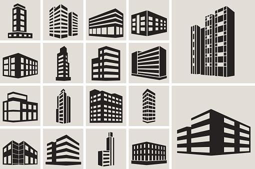 Buildings vector web icons set