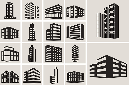 Buildings vector web icons set clipart