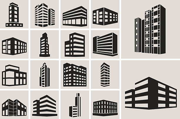 buildings vector web icons set - architecture clipart stock illustrations