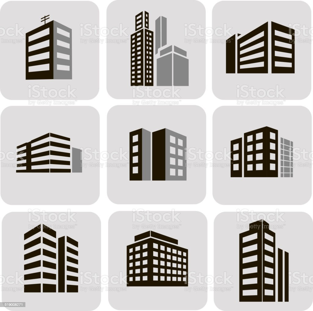 Buildings vector web sticker icons set vector art illustration