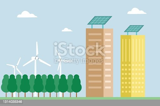 istock Buildings with solar panels 2D flat vector 1314035346