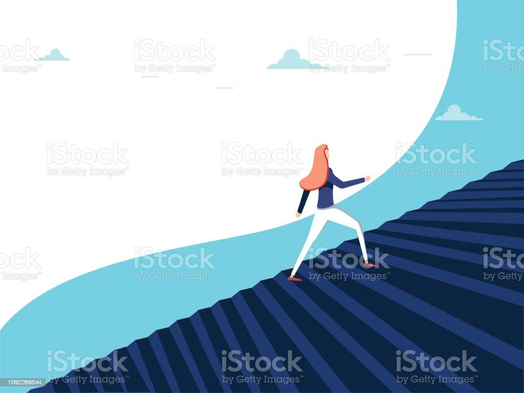 Buisnesswoman Klettern Karriereschritte Vektor-Konzept. Symbol der Ehrgeiz, Motivation, Erfolg in der Karriere, Förderung. - Lizenzfrei Arbeit und Beschäftigung Vektorgrafik