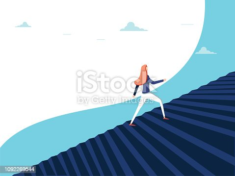 Buisnesswoman climbing career steps vector concept. Symbol of ambition, motivation, success in career promotion. Eps10 vector illustration. Business opportunity concept for feminism. Woman in business