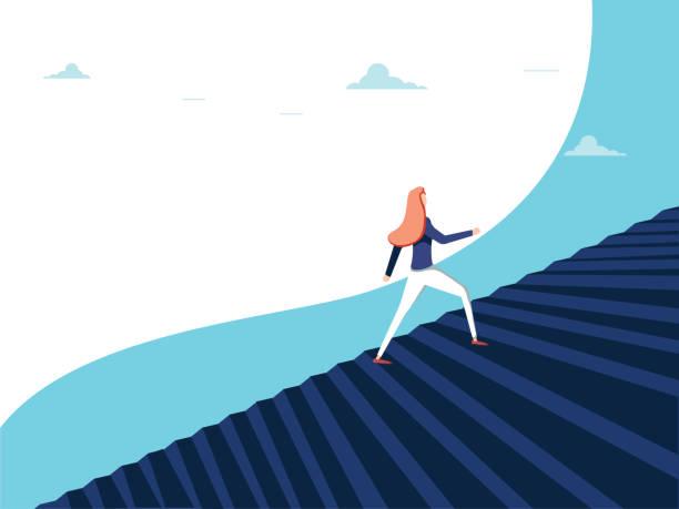 buisnesswoman wspinaczka kariery kroki koncepcji wektora. symbol ambicji, motywacji, sukcesu w karierze, awansu. - postęp stock illustrations