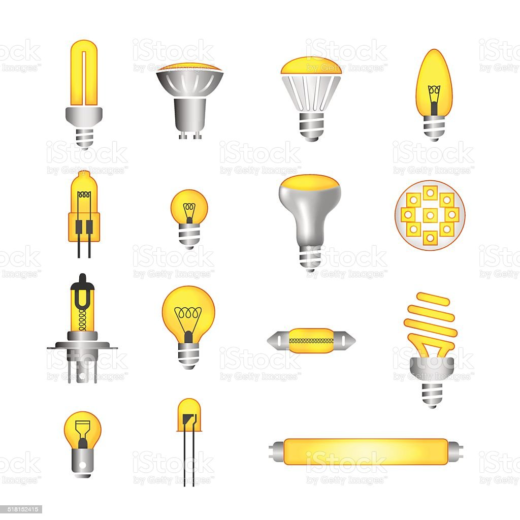 bulb and led set color icons vector art illustration