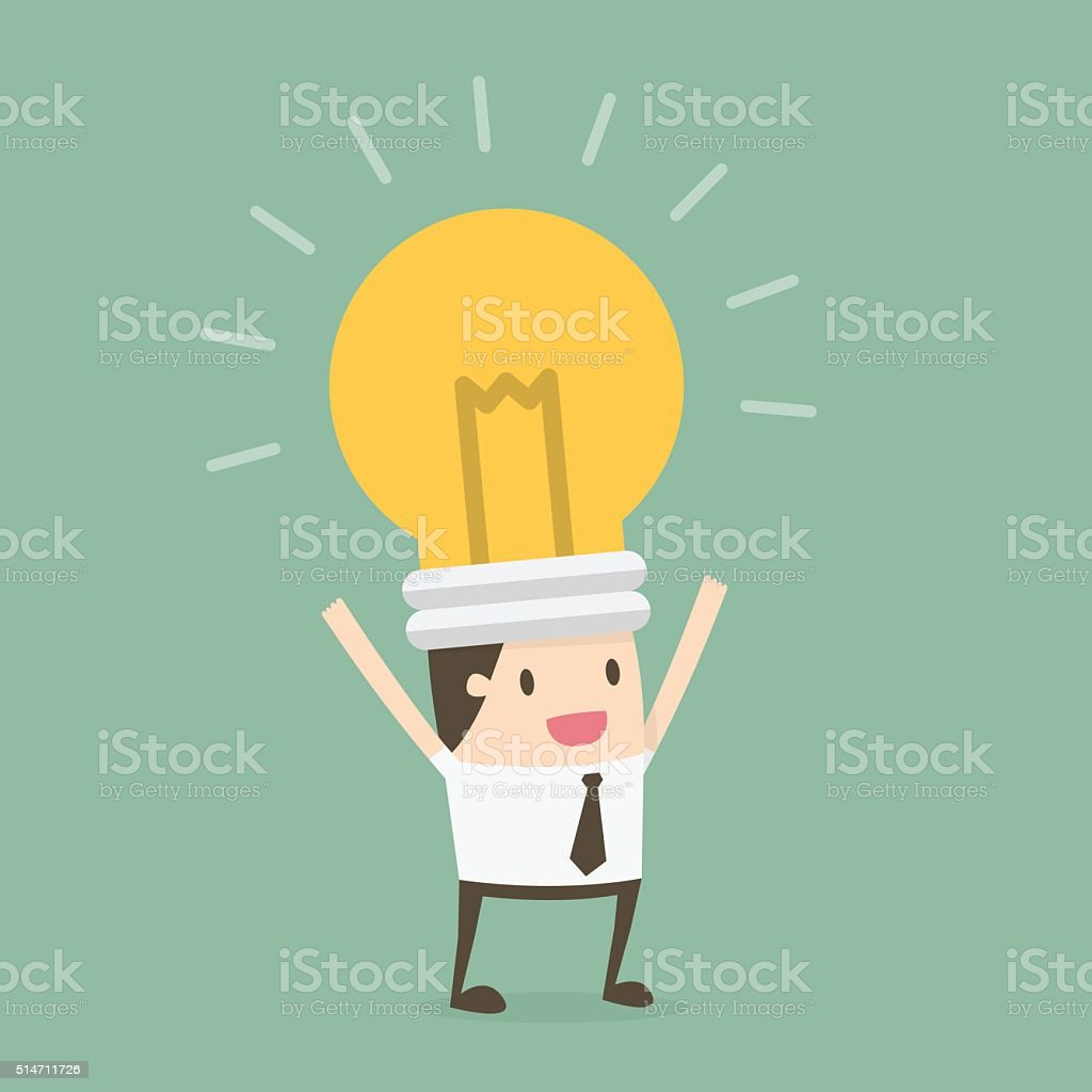 Bulb head businessman vector art illustration