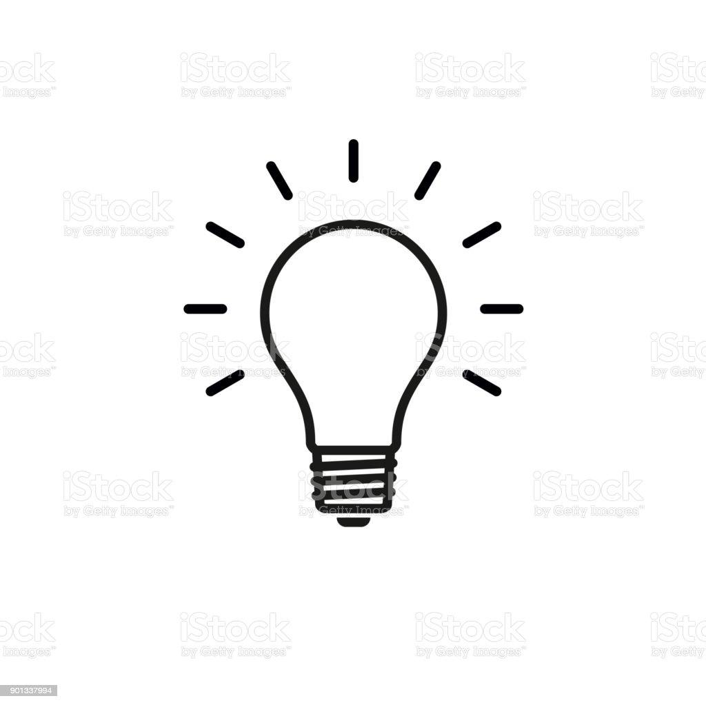 Icono de la bombilla Diseño plano ilustración de vectores de stock - ilustración de arte vectorial