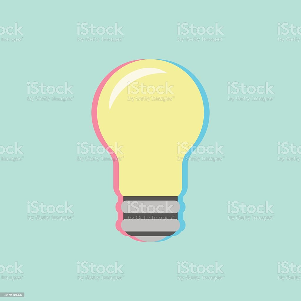 bulb icon with colored shadow vector art illustration
