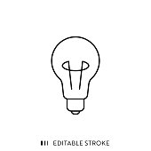 istock Bulb Icon with Editable Stroke and Pixel Perfect. 1179784800