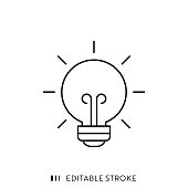 Bulb Icon with Editable Stroke and Pixel Perfect.