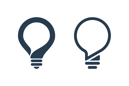 Bulb icons with speech bubble