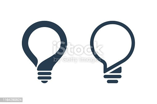Bulbs with speech bubble on white background. Creative idea icons.