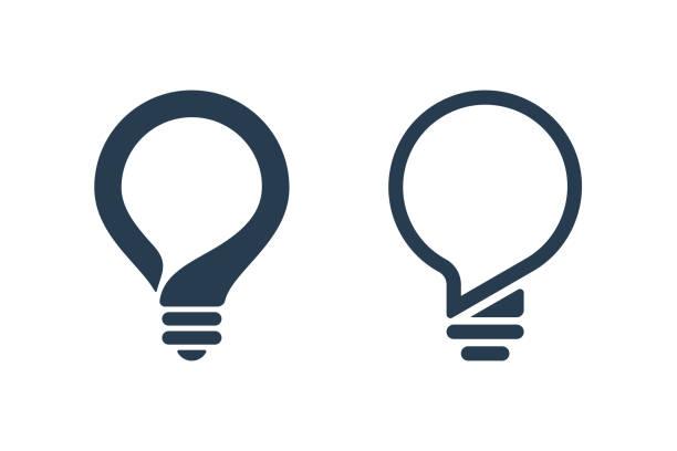 ikony żarówek z dymkiem - lampa elektryczna stock illustrations