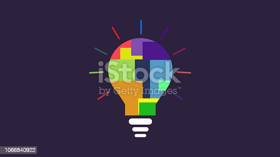 Bulb Idea color specter icon scattered boxes of color