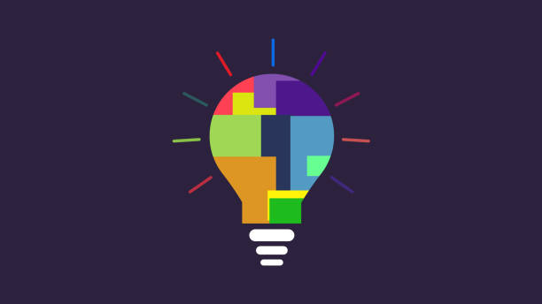 illustrazioni stock, clip art, cartoni animati e icone di tendenza di bulb idea color specter icon bulb as a metaphor for idea - innovation