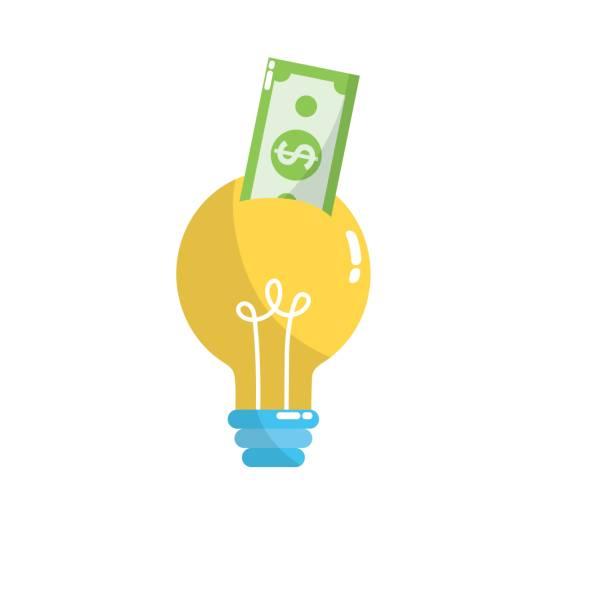 idea bombilla con dinero en efectivo de factura - ilustración de arte vectorial