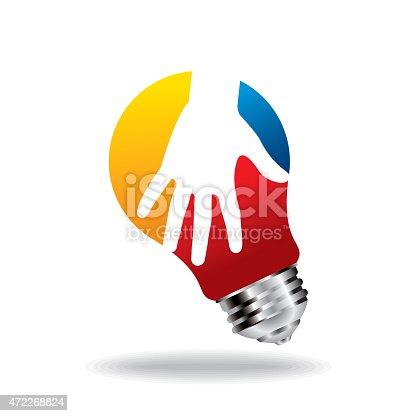 Vector - bulb idea with human hand - Illustration
