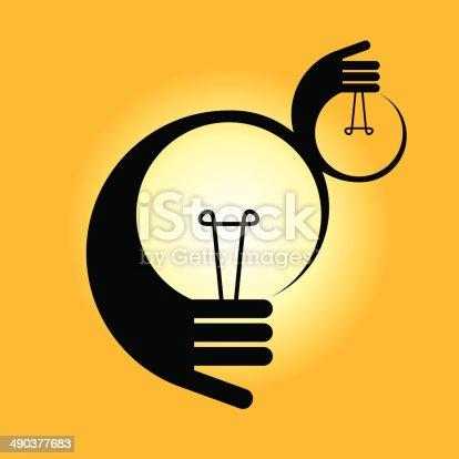 bulb idea with human hand