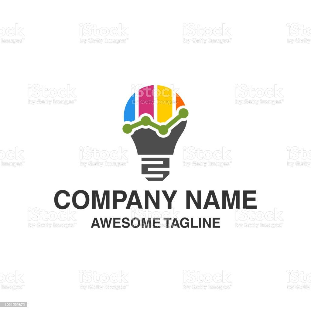 bulb lamp financial logo. bar chart marketing symbol. innovation...