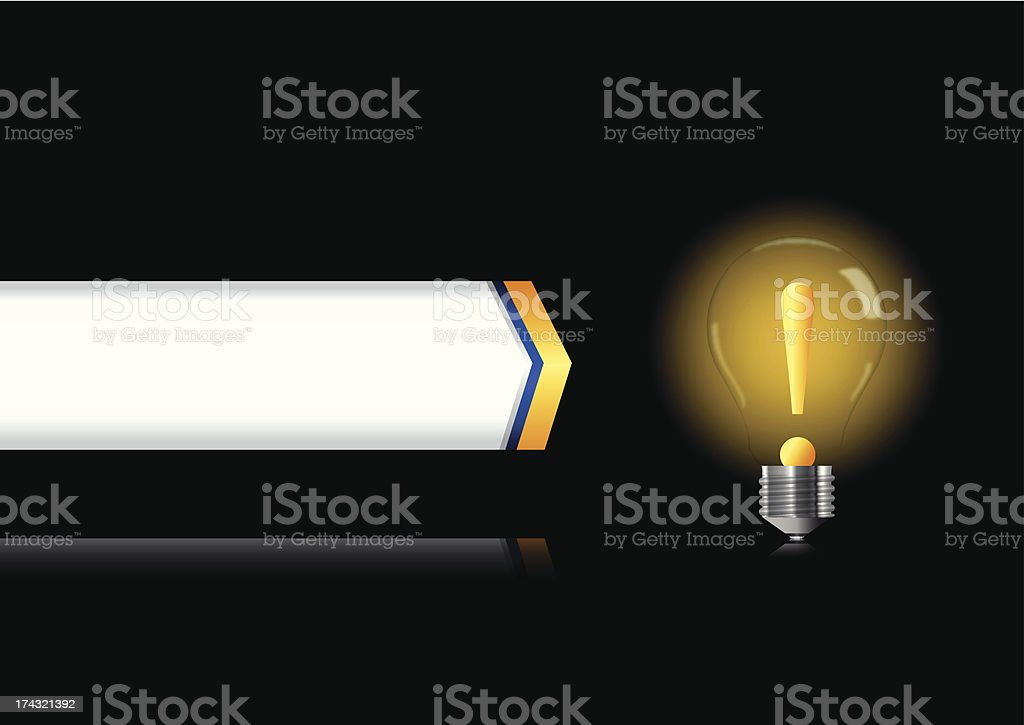 Bulb lamp with attention sign inside royalty-free stock vector art