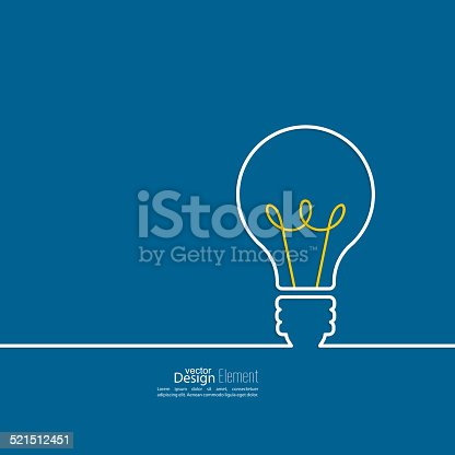 Bulb light idea. concept of big ideas inspiration innovation, invention, effective thinking. text