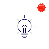 Bulb Line Icon with Editable Stroke and Pixel Perfect.