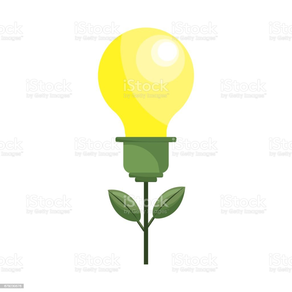 bulb plant with leaves to save environment bulb plant with leaves to save environment - arte vetorial de stock e mais imagens de biologia royalty-free