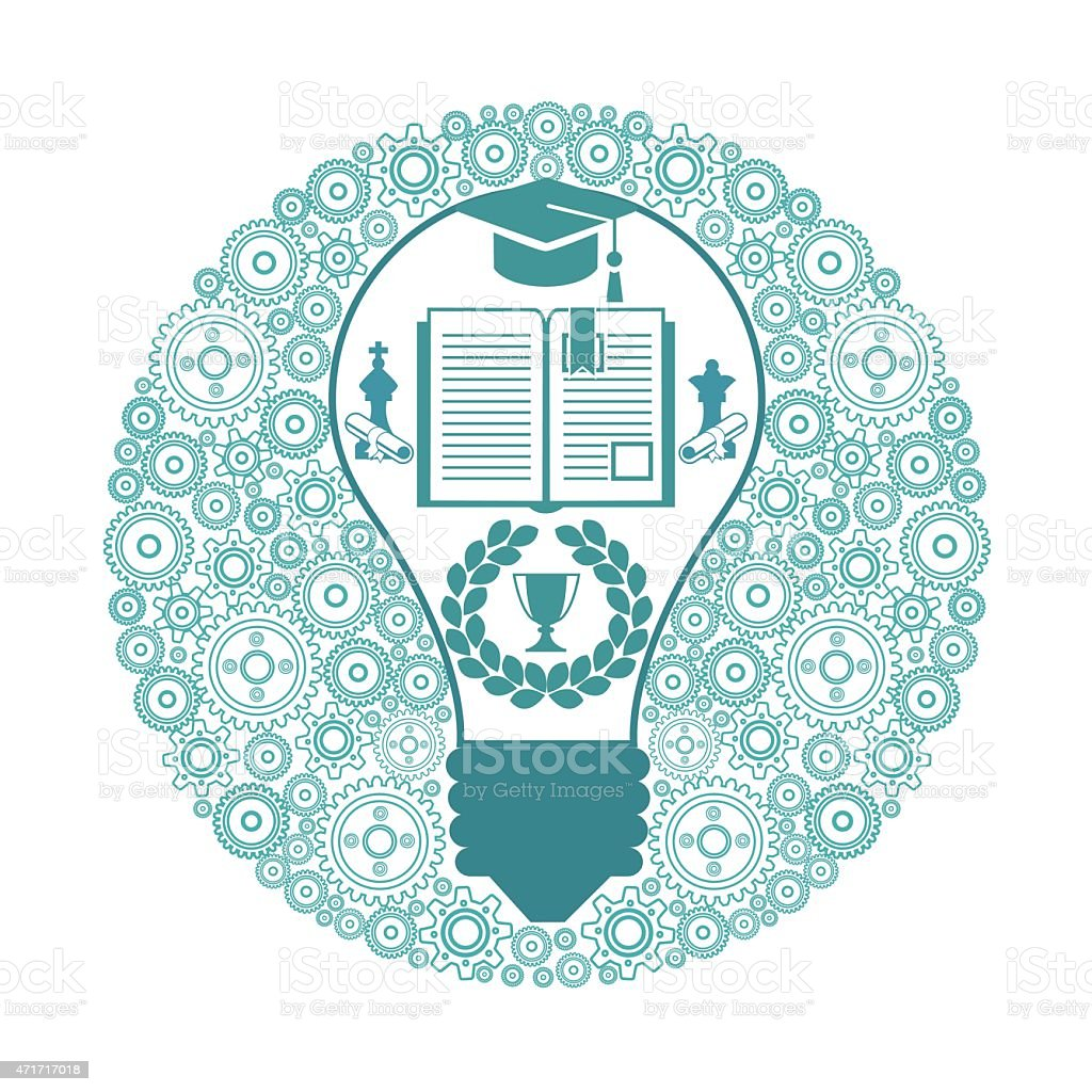 Lámpara rodeado por un engranaje - ilustración de arte vectorial