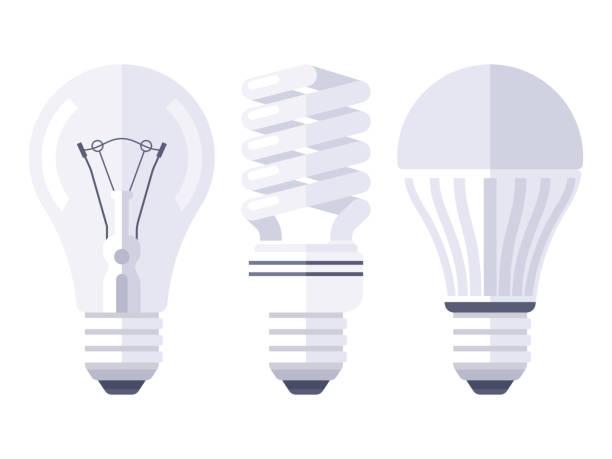ilustrações, clipart, desenhos animados e ícones de design plano de tipos de lâmpada - led