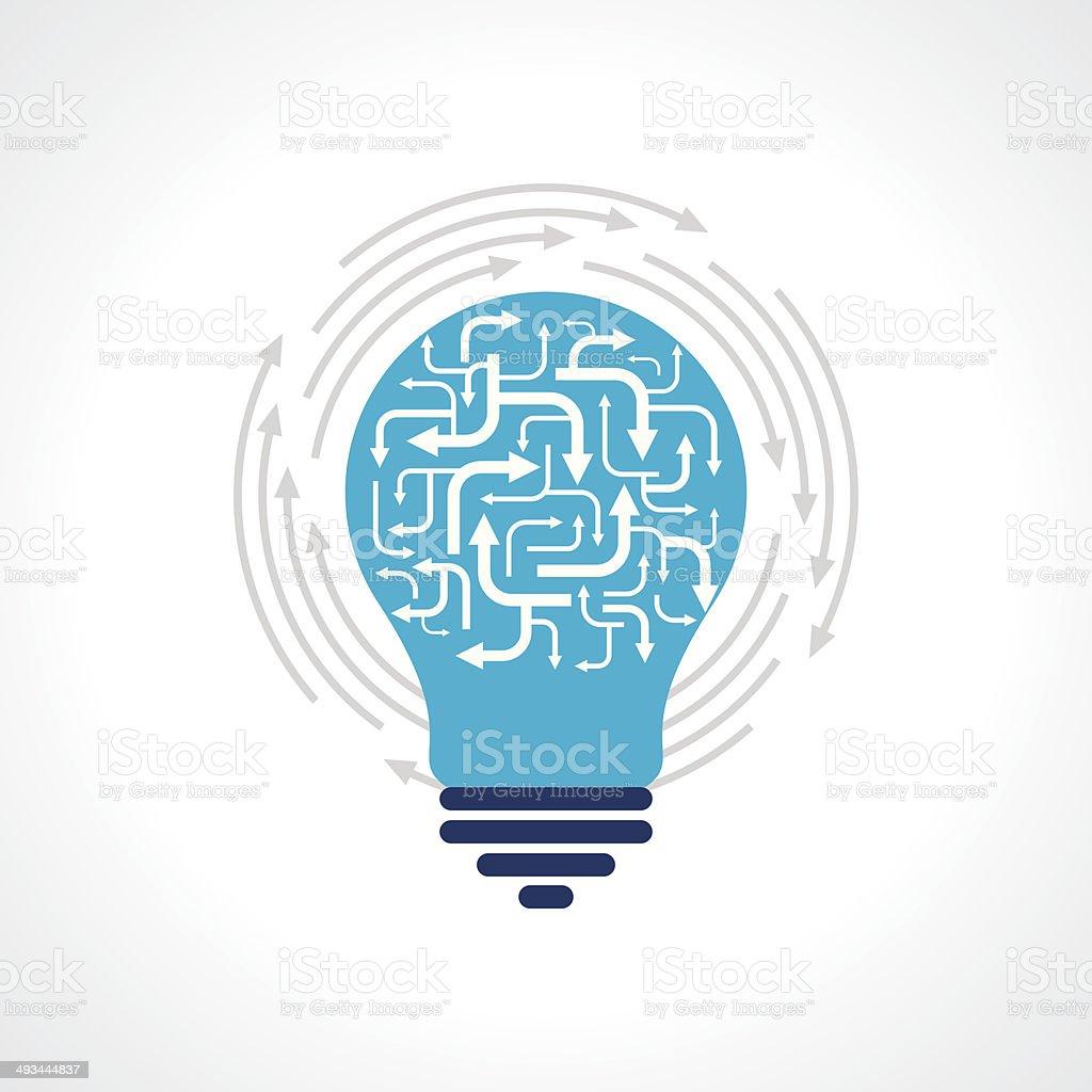 bulb with arrow vector art illustration