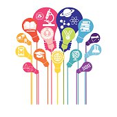 Bulb with icons of education and technology, Education Online, education icons, set of design icons for education. Some icons show a microscope, a atom, a globe, some geometric figures, a electric light, a university shield, a trophy, a book, global communication. Communication abstracts, Media, Social Networking, seo, digital marketing,digital communication. Concept. Very easy to manipulate, elements are on different layers. Vector illustration - EPS (version 10) file.