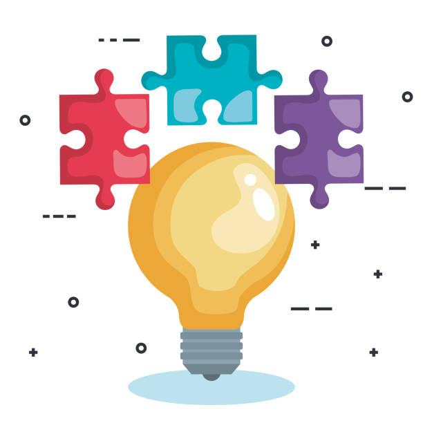 illustrations, cliparts, dessins animés et icônes de ampoule avec pièces de jeu de puzzle - infographie processus