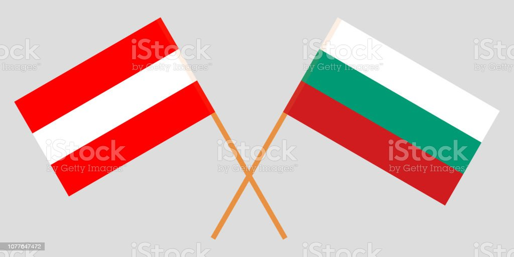 Bulgaria and Austria. The Bulgarian and Austrian flags. Official colors. Correct proportion. Vector vector art illustration