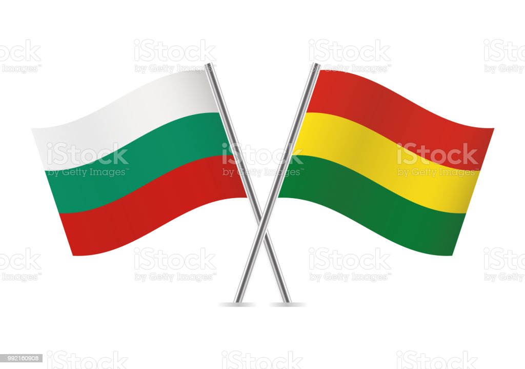 Bulgaria and Bolivia flags. Vector illustration. vector art illustration