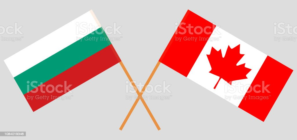 Bulgaria and Canada. The Bulgarian and Canadian flags. Official colors. Correct proportion. Vector vector art illustration