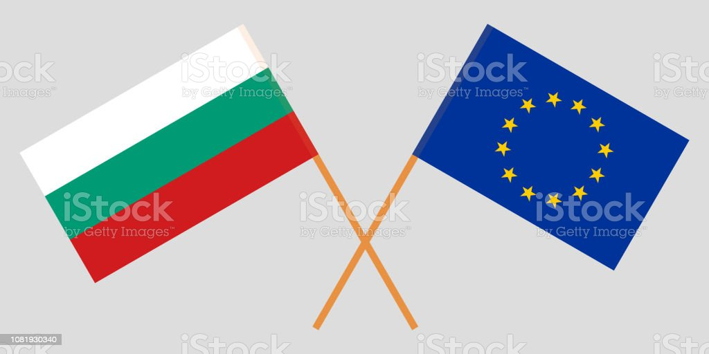 Bulgaria and EU. The Bulgarian and European Union flags. Official colors. Correct proportion. Vector vector art illustration