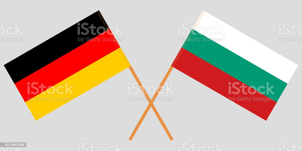 Bulgaria and Germany. The Bulgarian and German flags. Official colors. Correct proportion. Vector vector art illustration