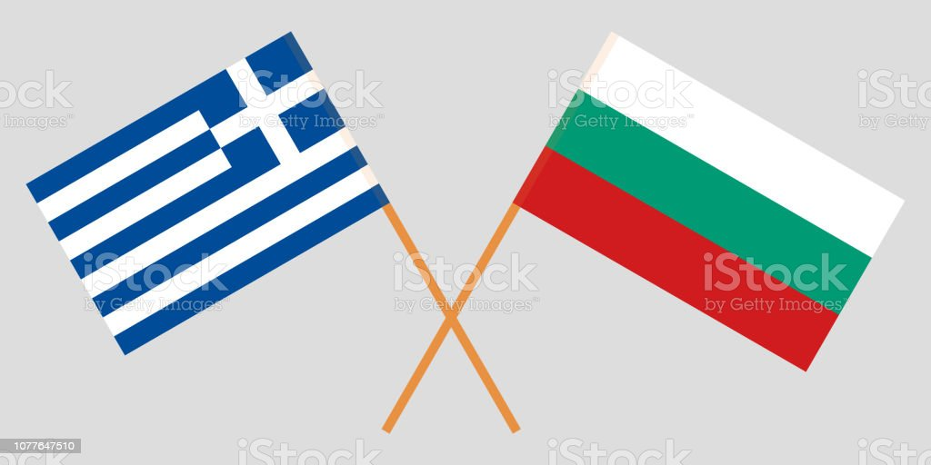 Bulgaria and Greece. The Bulgarian and Greek flags. Official colors. Correct proportion. Vector vector art illustration
