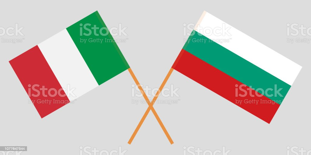Bulgaria and Ialy. The Bulgarian and Italian flags. Official colors. Correct proportion. Vector vector art illustration